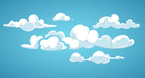 Blue sky and white clouds vector illustration. Cloudscape fluffy in atmosphere Royalty Free Illustration