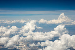 Blue Sky and White Clouds Viewed from the Air Stock Image