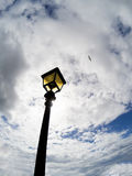 Blue sky with white clouds and Vintage street lamp Stock Photography