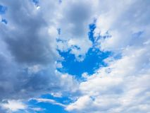 Blue sky with white clouds vivid color cloudscape. Light cloudy atmostphere Stock Photos