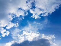 Blue sky with white clouds vivid color cloudscape. Light cloudy atmostphere Stock Images