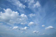 Blue sky with white clouds. And wind Royalty Free Stock Images