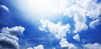 Blue sky and white cloudy Stock Images
