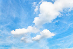 Blue sky with white cumulus clouds in autumn Royalty Free Stock Photography