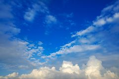 Blue sky white cumulus clouds. Background Royalty Free Stock Images