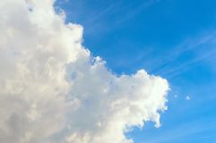 Blue sky with white Cumulus clouds. Day, background stock image