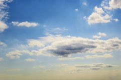 Blue sky with white Cumulus clouds. Day, background royalty free stock photos