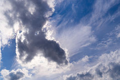 Blue sky with white and gray clouds. background; nature Stock Images