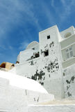 Blue sky and white greek house. Royalty Free Stock Photos