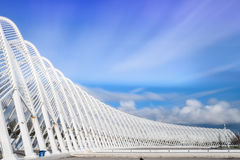 Blue Sky White Metal Architecture. The arc complex/design by Calatrava for Athens 2004 Olympic Games under the nice blue sky in Athens, Greece Royalty Free Stock Images
