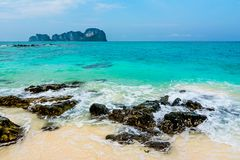 Blue sky and white sand at Bamboo Island, Thailand stock image