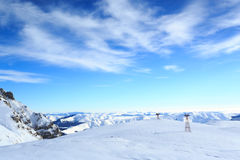 Blue sky with white soft clouds in winter Stock Photos
