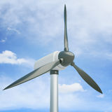 Blue sky wind generator. Closeup of wind generator on blue sky background. 3D Rendering Stock Photography