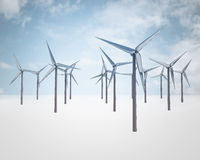 Blue sky with windmill generators field Stock Photo