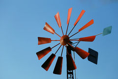 The blue sky and windmill. The blue sky and the view of the windmill of a red wing Stock Photography