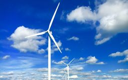 Blue Sky And Windmills Stock Images