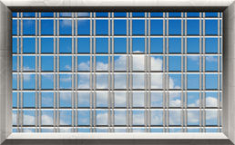 Blue sky through window bars Stock Image