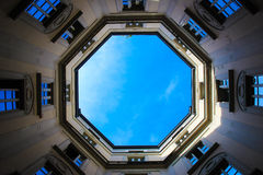 Blue sky window in urban court Royalty Free Stock Photography