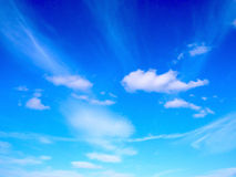 Blue sky windy clouds. Background winddy  heave , fresh air  firmament atmosphere sky sky scape blue sky white cloude Fluffy light hairy sooth Stock Photography