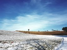 Blue Sky. Winter wonderland in the sun royalty free stock photography