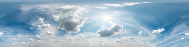 Free Blue Sky With Beautiful Cumulus Clouds. Seamless Hdri Panorama 360 Degrees Angle View With Zenith For Use In 3d Graphics Or Game Royalty Free Stock Image - 166108786