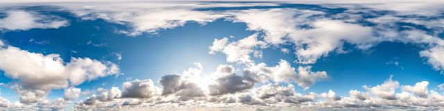Free Blue Sky With Beautiful Cumulus Clouds. Seamless Hdri Panorama 360 Degrees Angle View With Zenith For Use In 3d Graphics Or Game Royalty Free Stock Photography - 166108847