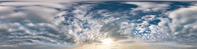 Free Blue Sky With Beautiful Cumulus Clouds. Seamless Hdri Panorama 360 Degrees Angle View With Zenith For Use In 3d Graphics Or Game Stock Image - 166323241