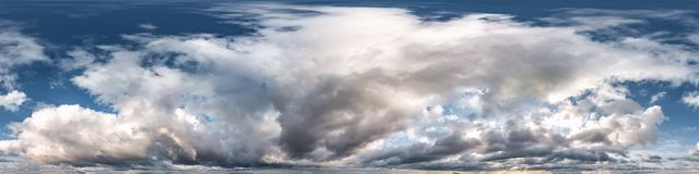Free Blue Sky With Beautiful Evening Cumulus Clouds. Seamless Hdri Panorama 360 Degrees Angle View With Zenith For Use In Graphics Or Royalty Free Stock Photo - 168110365