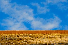 Blue sky wood shingles Royalty Free Stock Photography