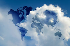 Blue sky with world map Royalty Free Stock Photos