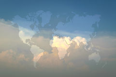 Blue sky with world map Stock Images