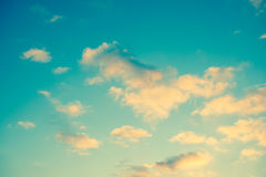 Blue sky with yellow clouds Stock Photo