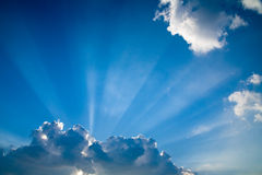 Blue skys clouds sunbeams #5 Royalty Free Stock Images