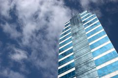 Blue skyscraper in the sky Royalty Free Stock Images