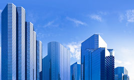 Blue skyscraper skyline Stock Images