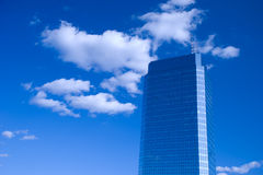 Blue skyscraper in Warsaw. Blue skyscraper and sky in Warsaw Stock Photos