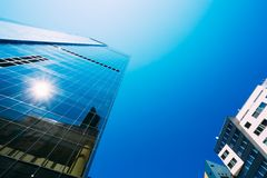 Blue Skyscrapers Background. Modern Architecture Royalty Free Stock Photos