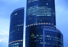 Blue skyscrapers at evening Royalty Free Stock Photography