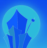Blue Skyscrapers front of the. Image of Blue Skyscrapers front of the Sun Royalty Free Illustration
