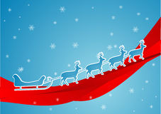 Blue sleigh. Santa claus blue sleigh with raindears on red ribbon and snowy background Royalty Free Stock Photography