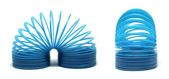 Blue slinky toy. Isolated On White Background Stock Photography