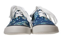 Blue slip-on casual shoes on white Stock Images