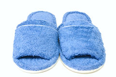 Blue slippers. Isolated on a white background Stock Image