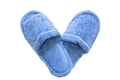 Blue slippers. Isolated on a white background Royalty Free Stock Photography