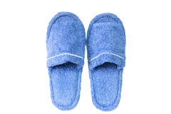 Blue slippers. Isolated on a white background Stock Photo
