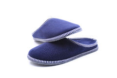 Blue slippers. Light blue slippers for home royalty free stock photography