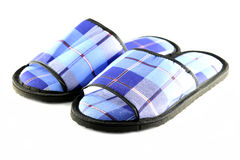 Blue Slippers isolated. Royalty Free Stock Photo