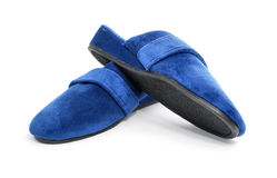 Blue slippers shoes isolated royalty free stock photography