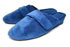 Blue slippers shoes isolated Royalty Free Stock Photos