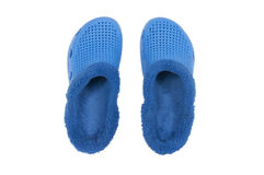 Blue slippers top view Royalty Free Stock Photos
